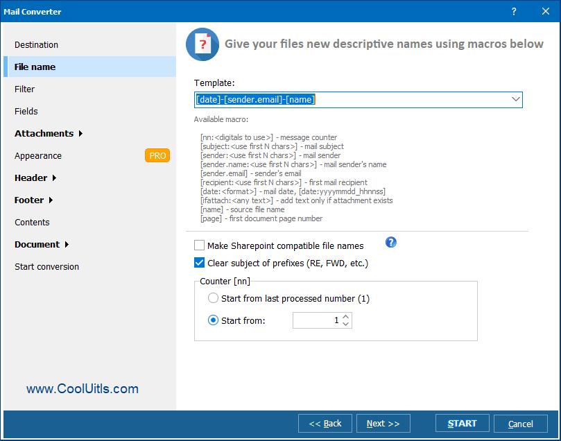 email converter renaming