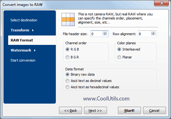 bmp to raw in Total Image Converter