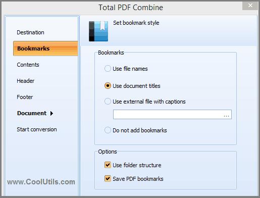 combine pdf bookmarks