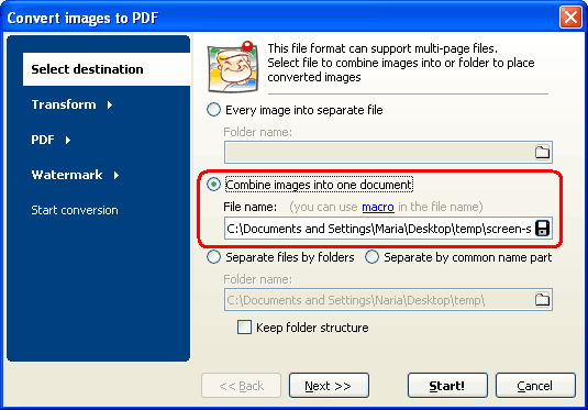 combine TIFF images into one PDF