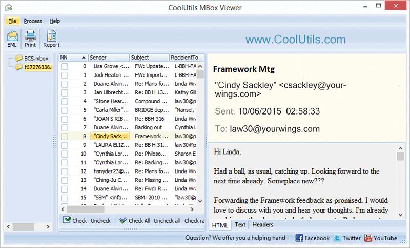 Coolutils Mbox Viewer full screenshot