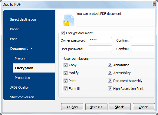 convert doc to encrypted pdf