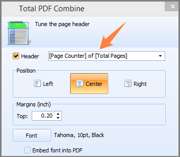 combine pdf add page counter
