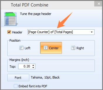 combine pdf add page counter