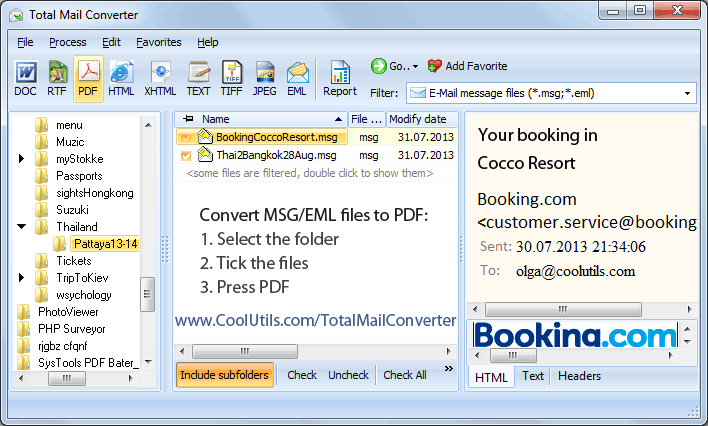 mail to pdf travel itinerary