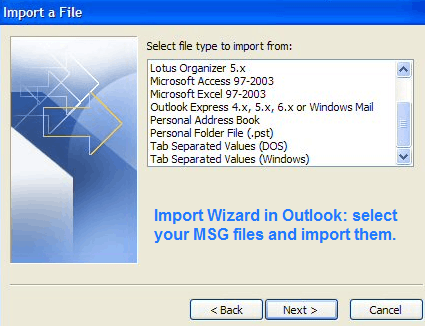 import msg to outlook