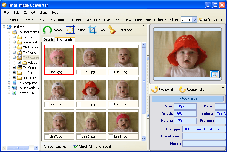 Convert & resize TIFF, JPEG, RAW, PNG, GIF and 20 more formats.