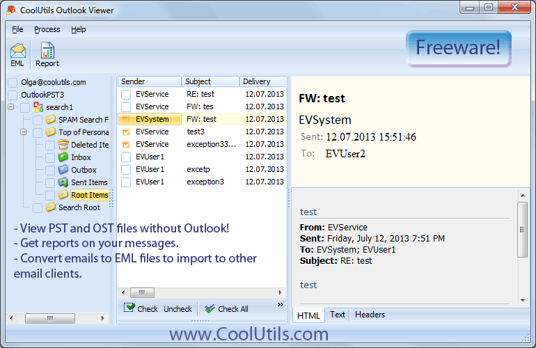 Outlook Viewer ScreenShot 1