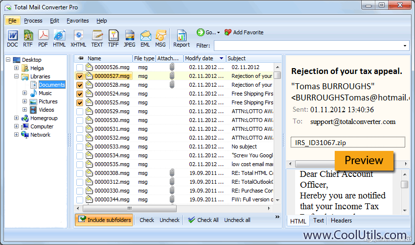 Click to view Total Mail Converter Pro 2.3 screenshot