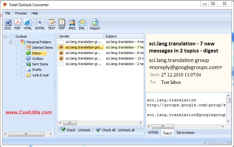 Total Outlook Converter ScreenShot 1