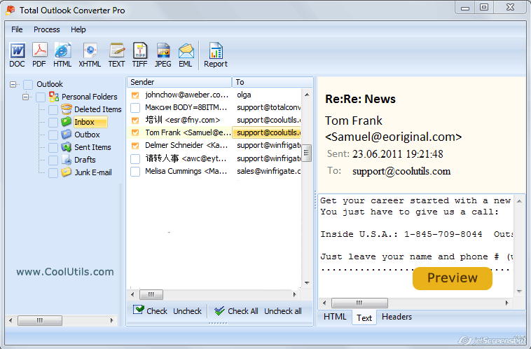 Total Outlook ConverterX ScreenShot 1
