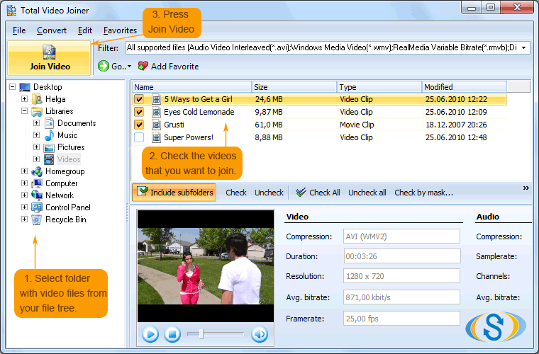 Total Video Joiner ScreenShot 1